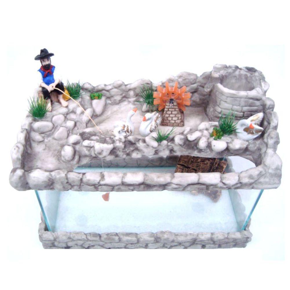 Aquário com fonte de água Grande com Pescador decorativo .