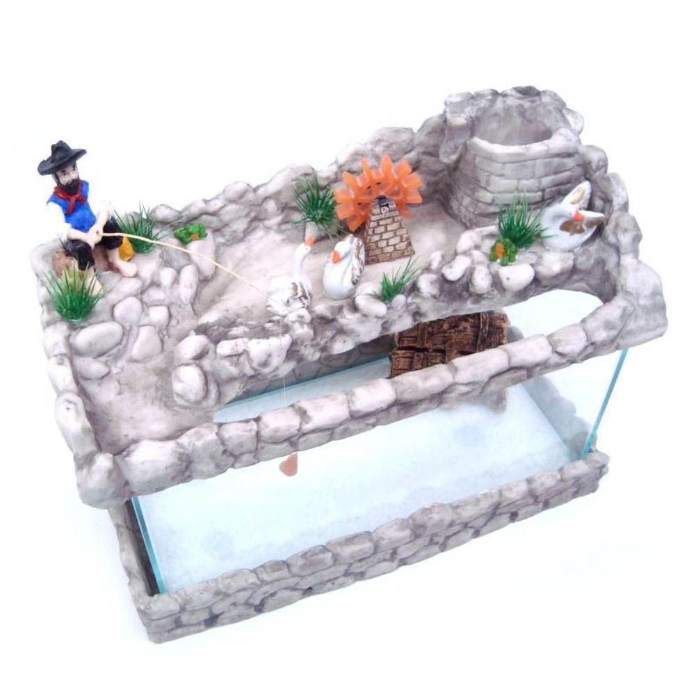 Aquário com fonte decorado Grande Pescador 110 V