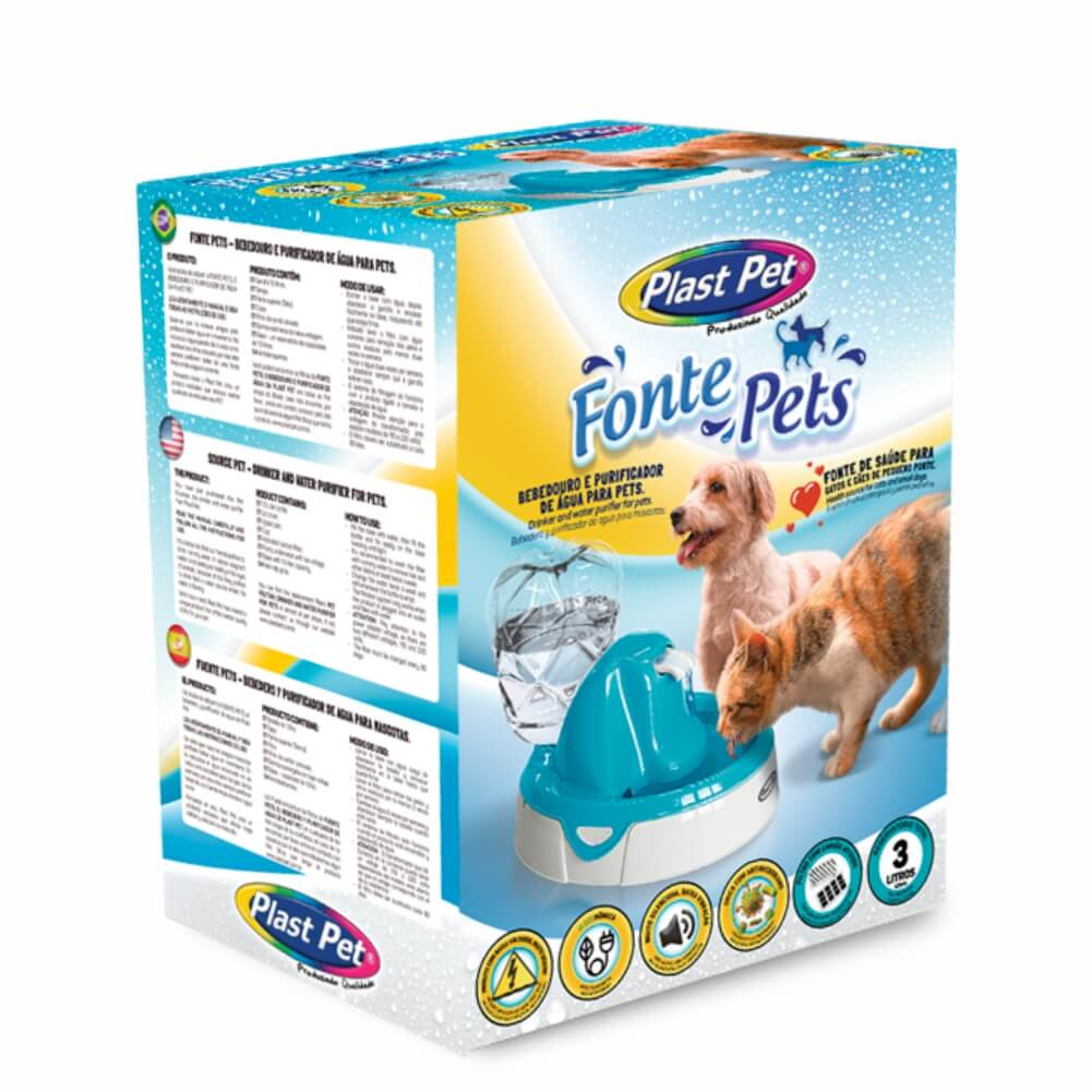 Bebedouro e Fonte para Gato e Cachorro com filtro Rosa - 110V