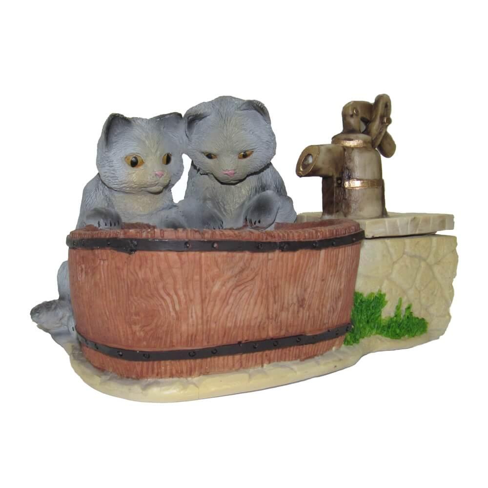 Bebedouro fonte de água Pet Filhote Filhotinhos cinza.