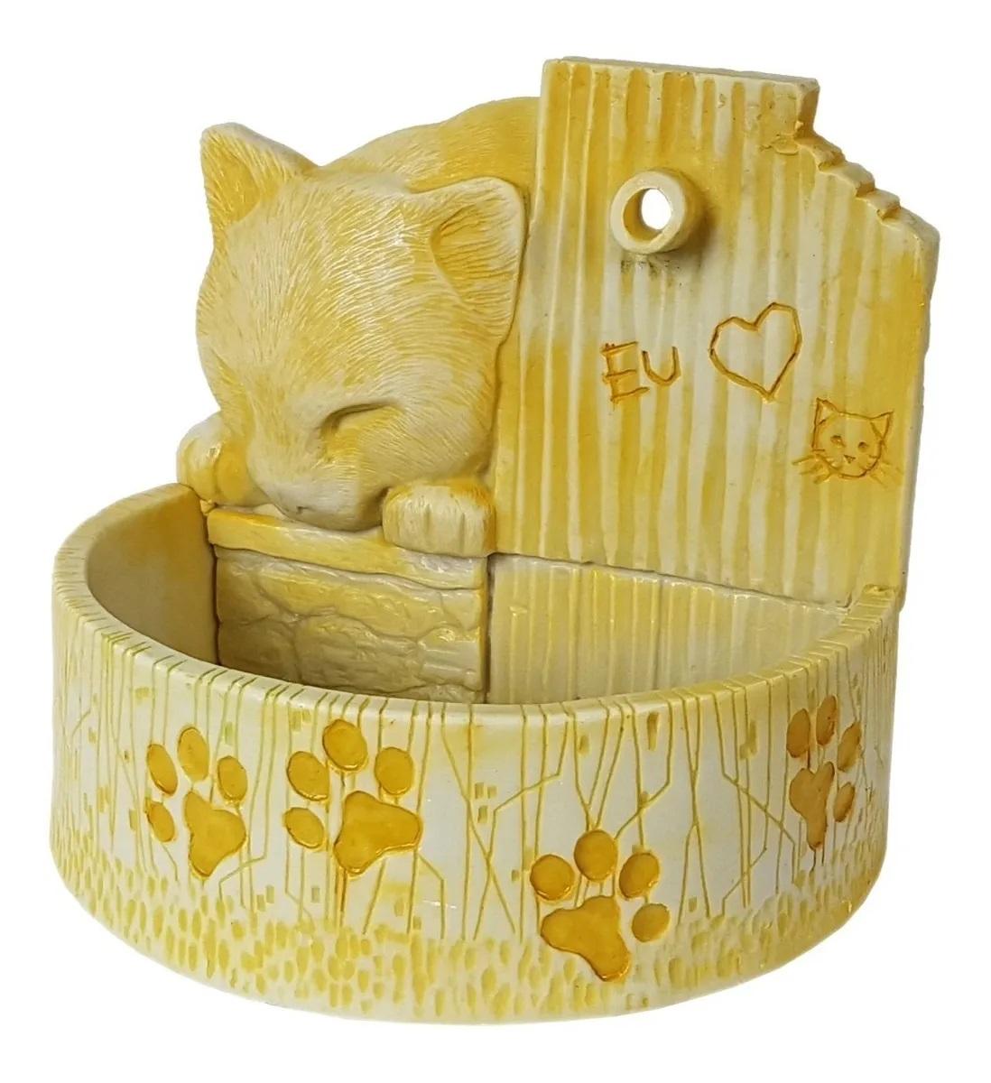 Bebedouro para gato fonte de água prime amarelo Bivolt