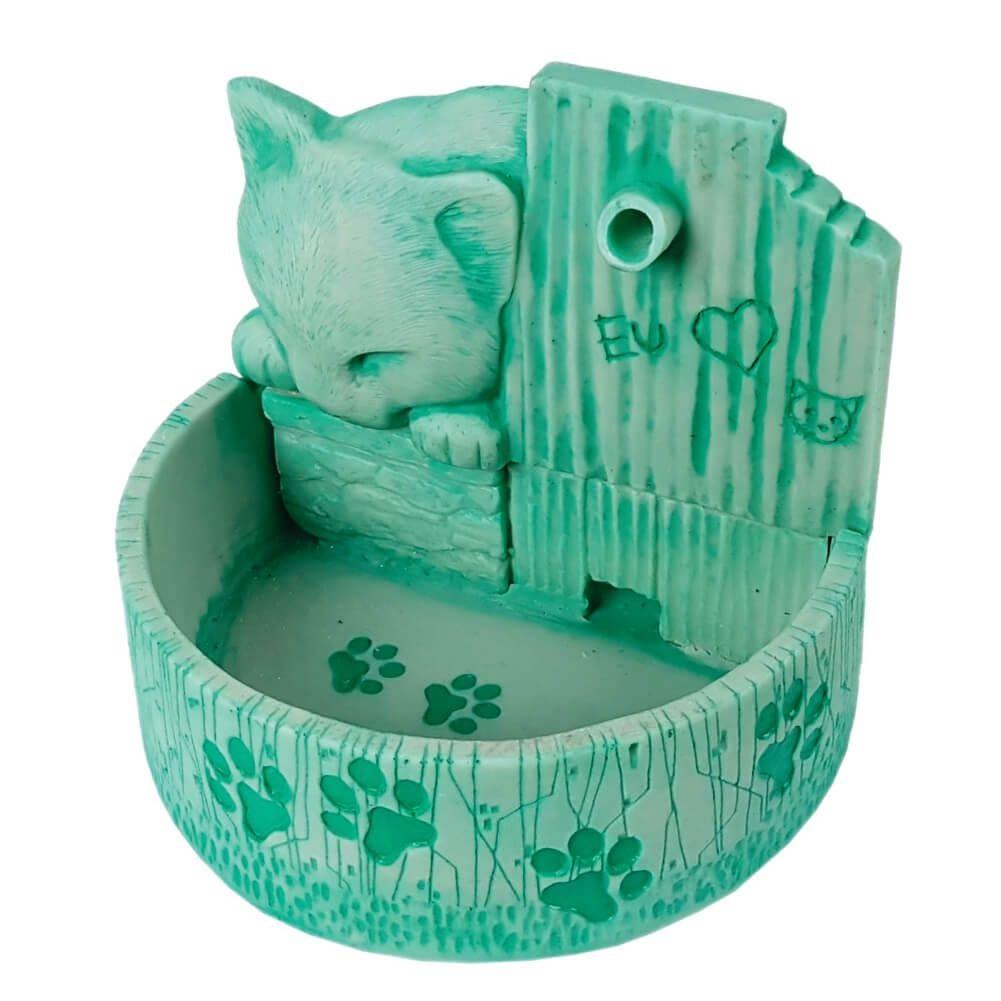Bebedouro para gato fonte de água prime verde Bivolt
