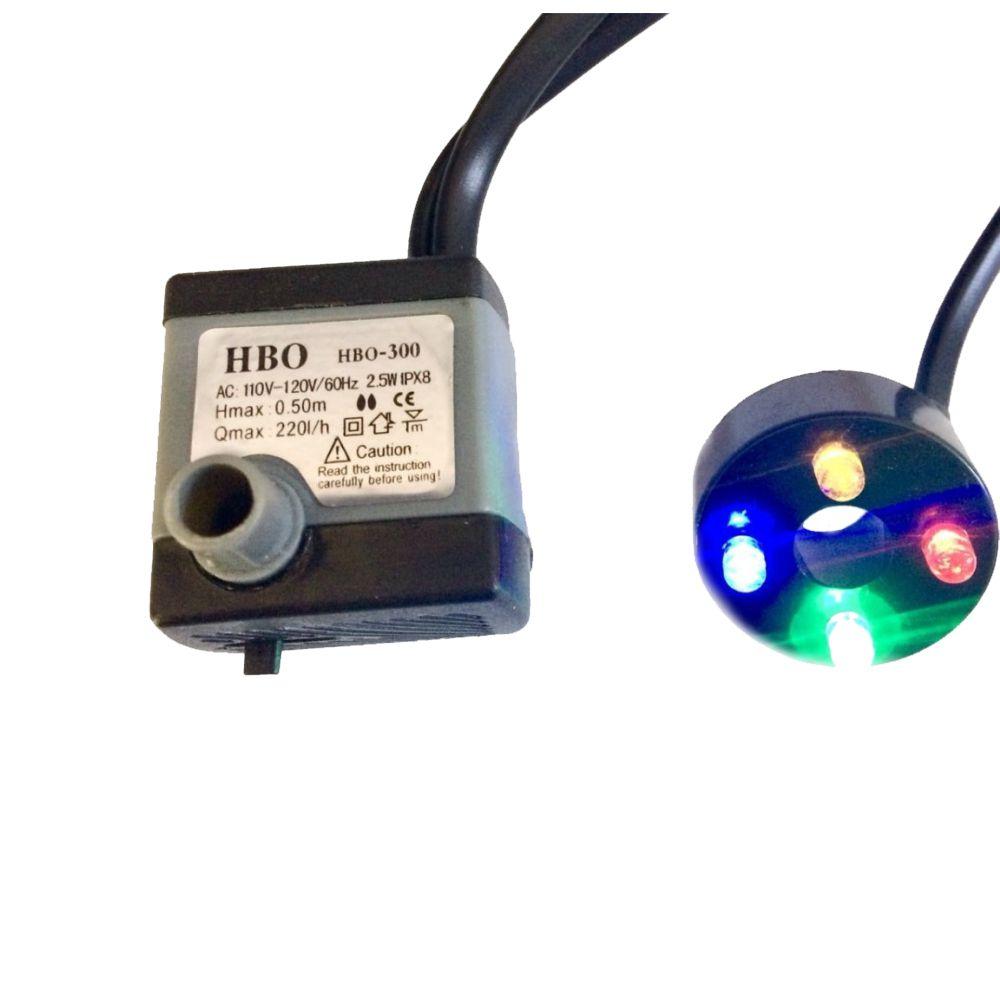 Bomba Submersa com LED para Fontes E Aquários 220 L/h - Hbo 300
