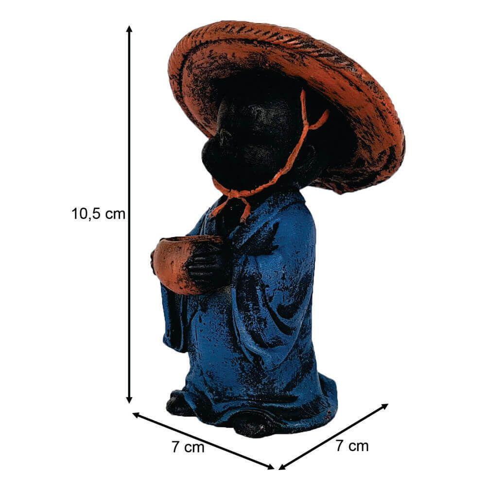 Buda Chinês menino chapéu cone Estátua.
