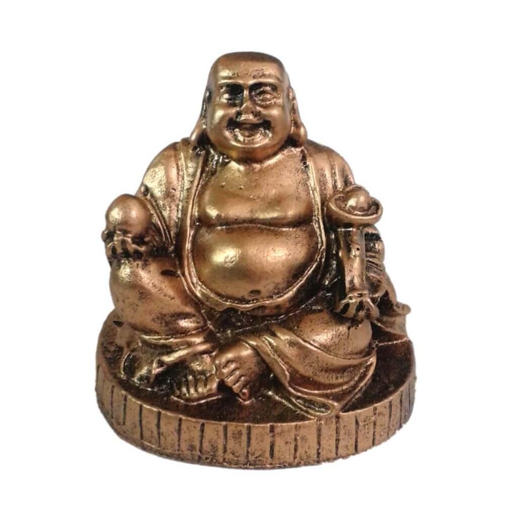Buda Chinês com Base cor ouro envelhecido.