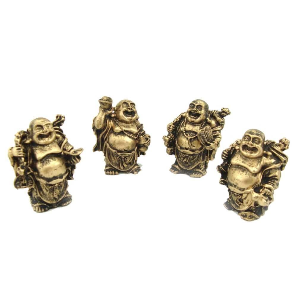 Buda Chinês Com 4 Peças Cor ouro envelhecido.