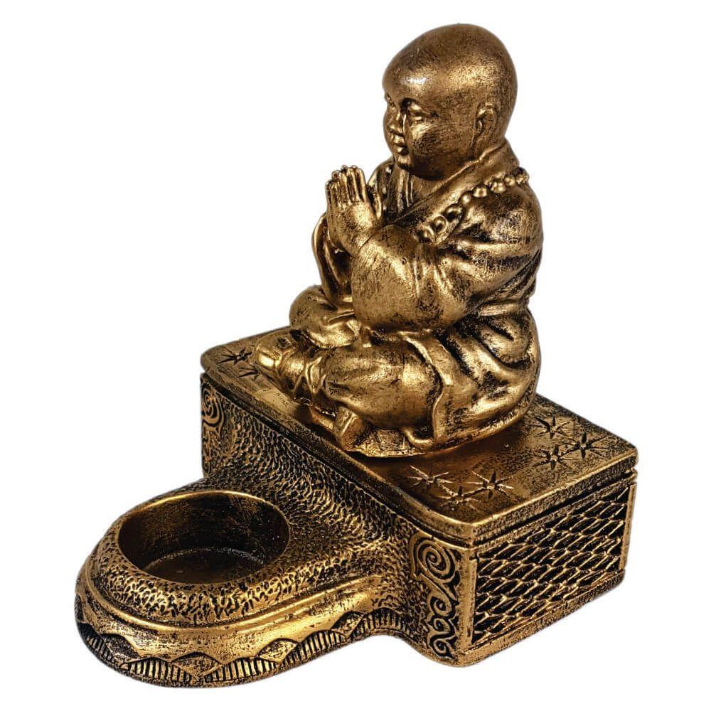 Buda Chinês Castiçal com base estátua decoração.