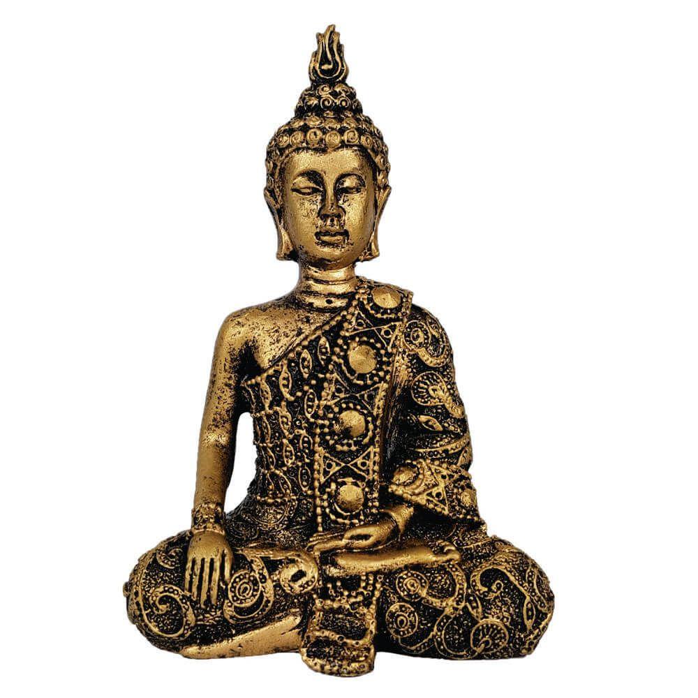 Buda Hindu Tibetano Meditação Cor Ouro Envelhecido.