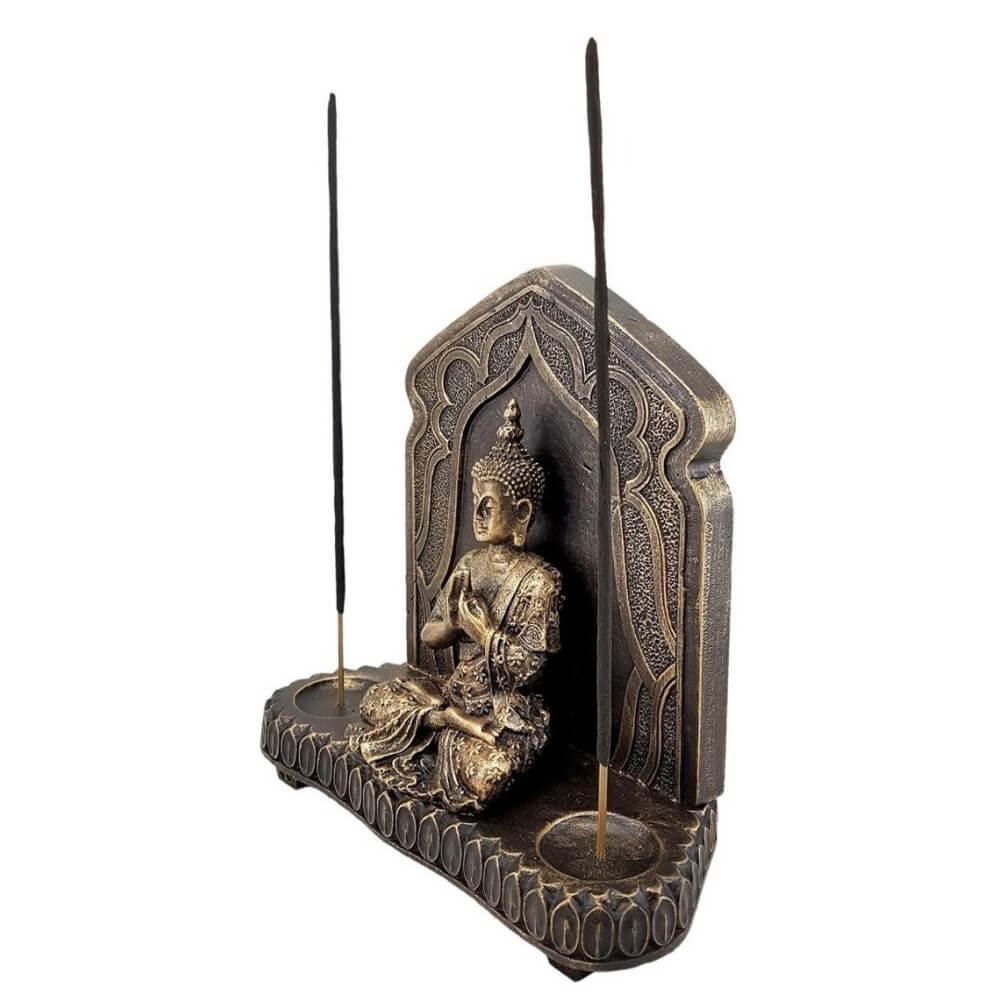 Buda Hindu Tibetano No Aparador Com Incensário Em Resina
