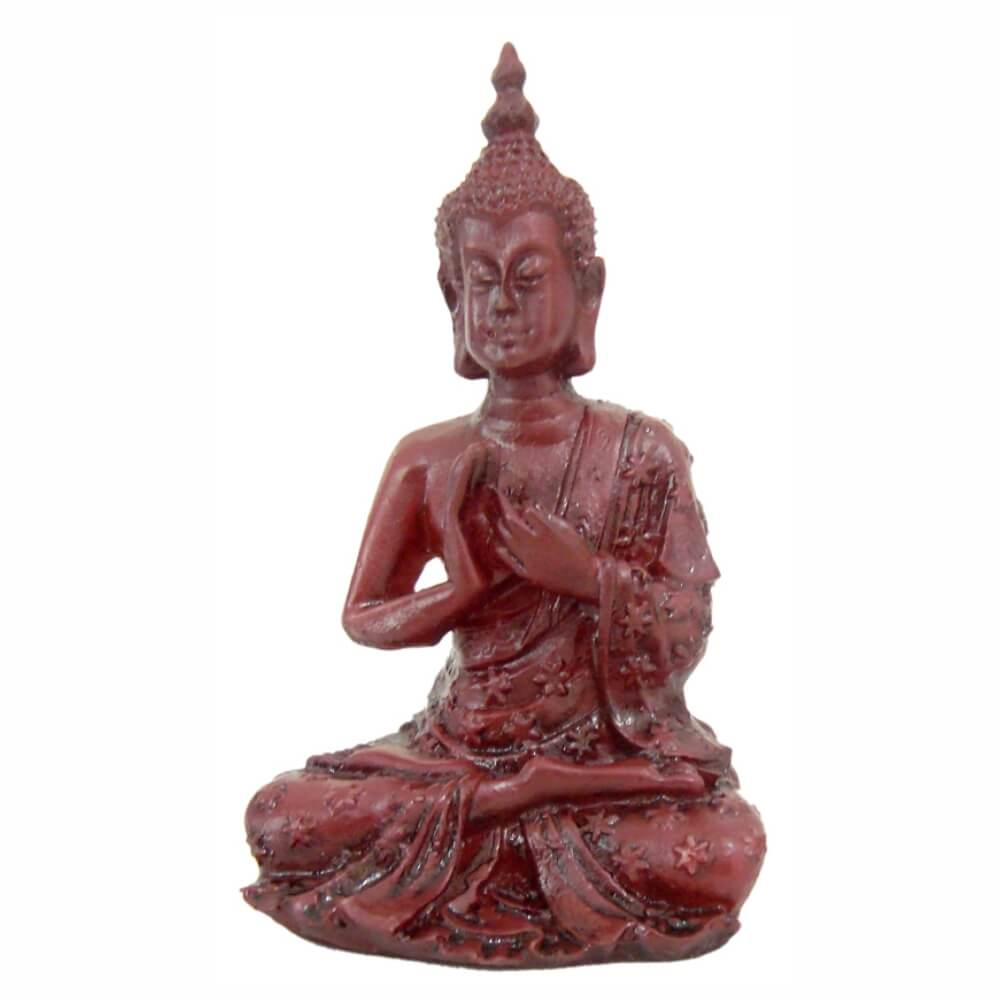 Buda Tibetano Rezando Cor Ouro Envelhecido.