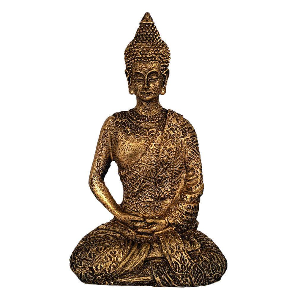 Buda Tibetano Mini Cor Ouro envelhecido.