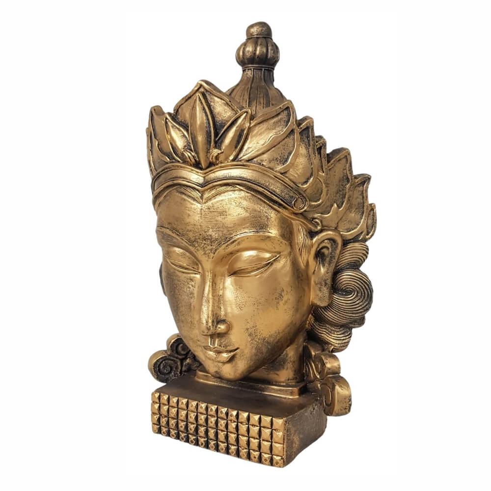 Buda Cabeça Rosto face Coroa Dourado Estátua Decoração.