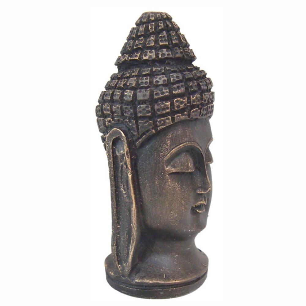 Cabeça De Buda Hindu Pequeno cor ouro envelhecido.