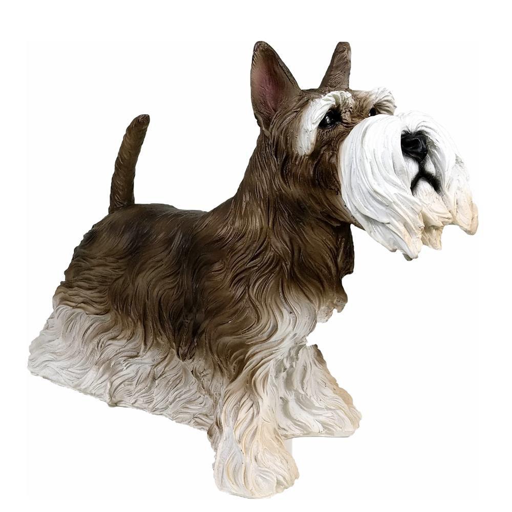 Cachorro Schnauzer Decoracao Estatua Resina Enfeite Realista