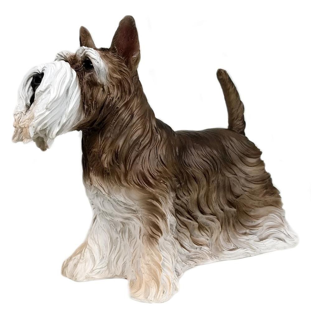 Cachorro Schnauzer Decoração estatua Resina Enfeite realista