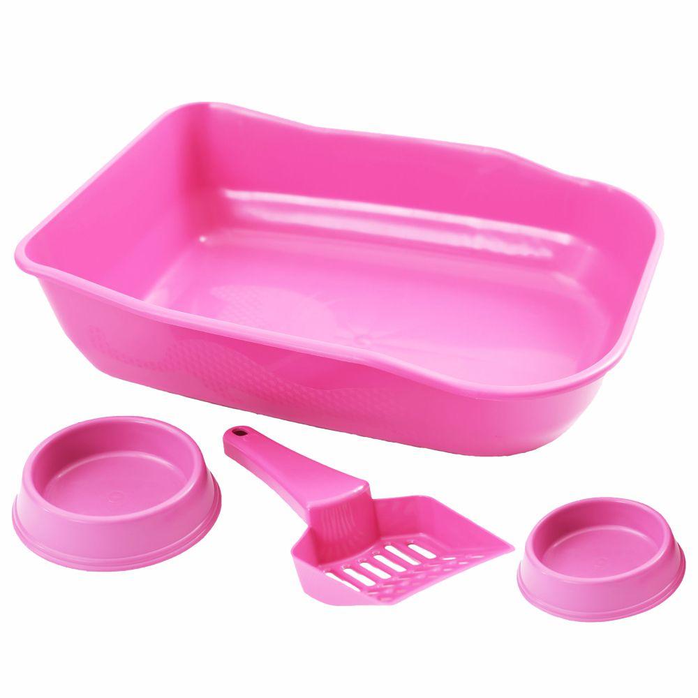 Caixa de areia Bandeja Higiênica com pazinha e comedouros - Rosa