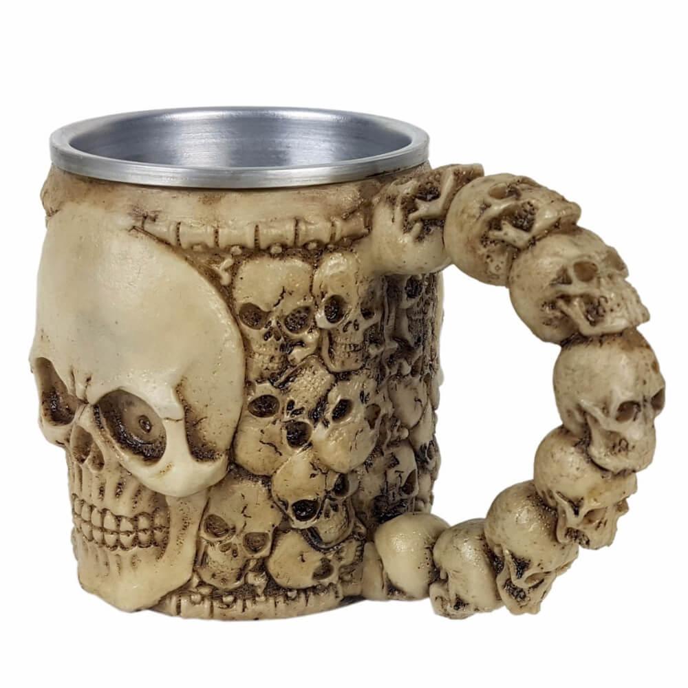 Caneca Chopp Caveira Crânio Cerveja Esqueleto.