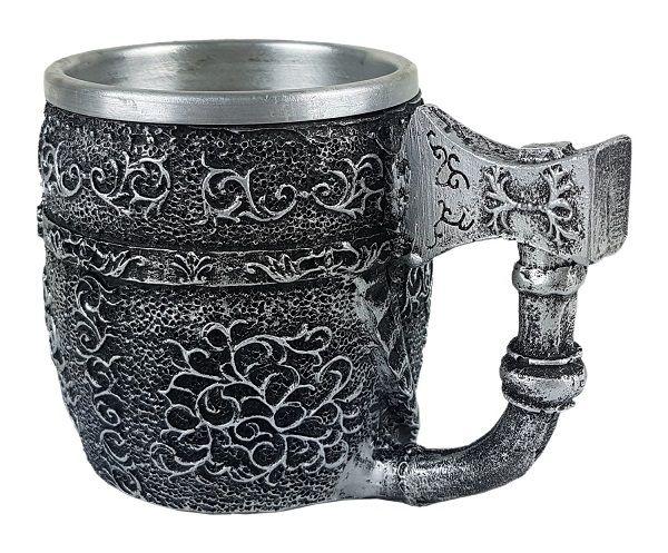 Caneca inox Crânio machado medieval chopp.