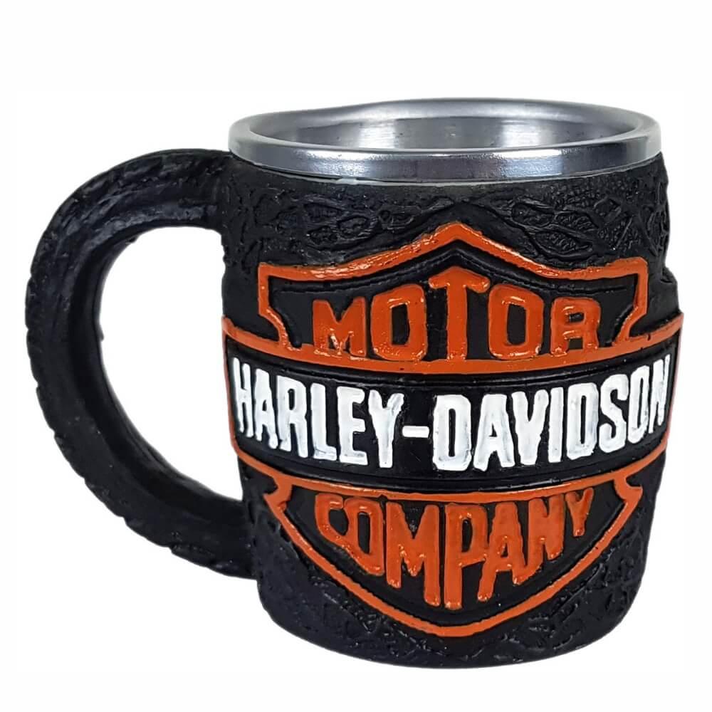 Caneca inox emblema motor Harley Davidson chopp.