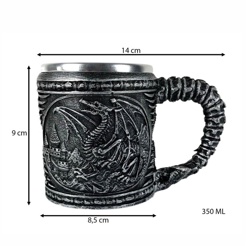 Caneca inox GOT dragão Drogon Viserion e Rhaegal chopp.