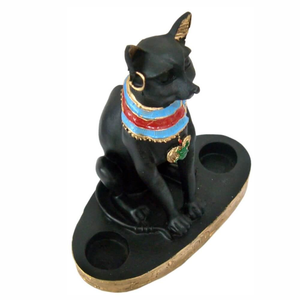 Castiçal Bastet Bast Ubasti Ba-en-Aset ou Ailuros gato egipcío.