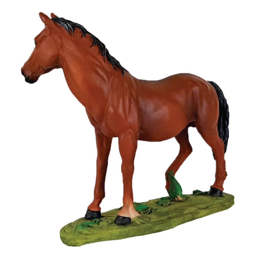 Cavalo Manga Larga com base em Resina Decoração.