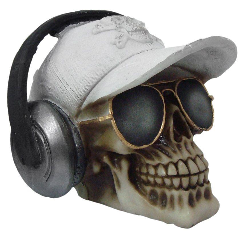 Caveira Crânio Fone de ouvido com boné Branco.