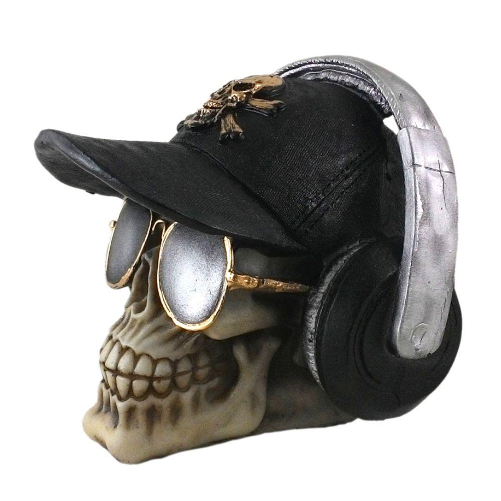 Caveira Crânio Fone de ouvido com boné Preto.