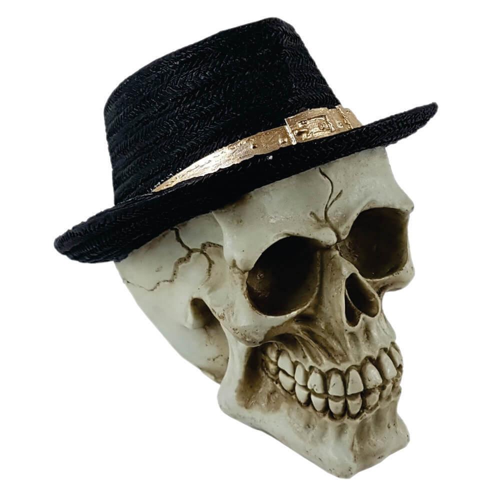 Crânio Caveira com chapéu preto Grande Estilo.