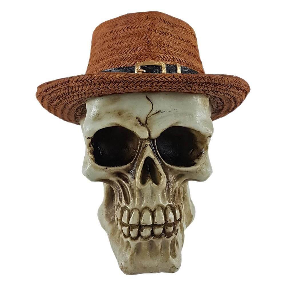 Crânio Caveira com chapéu Marrom Grande Estilo.