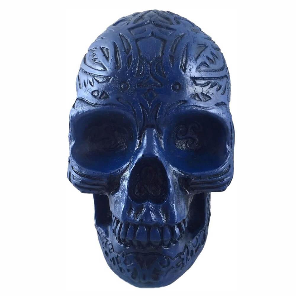 Crânio Caveira Esqueleto Azul Tribal Inca Colorido