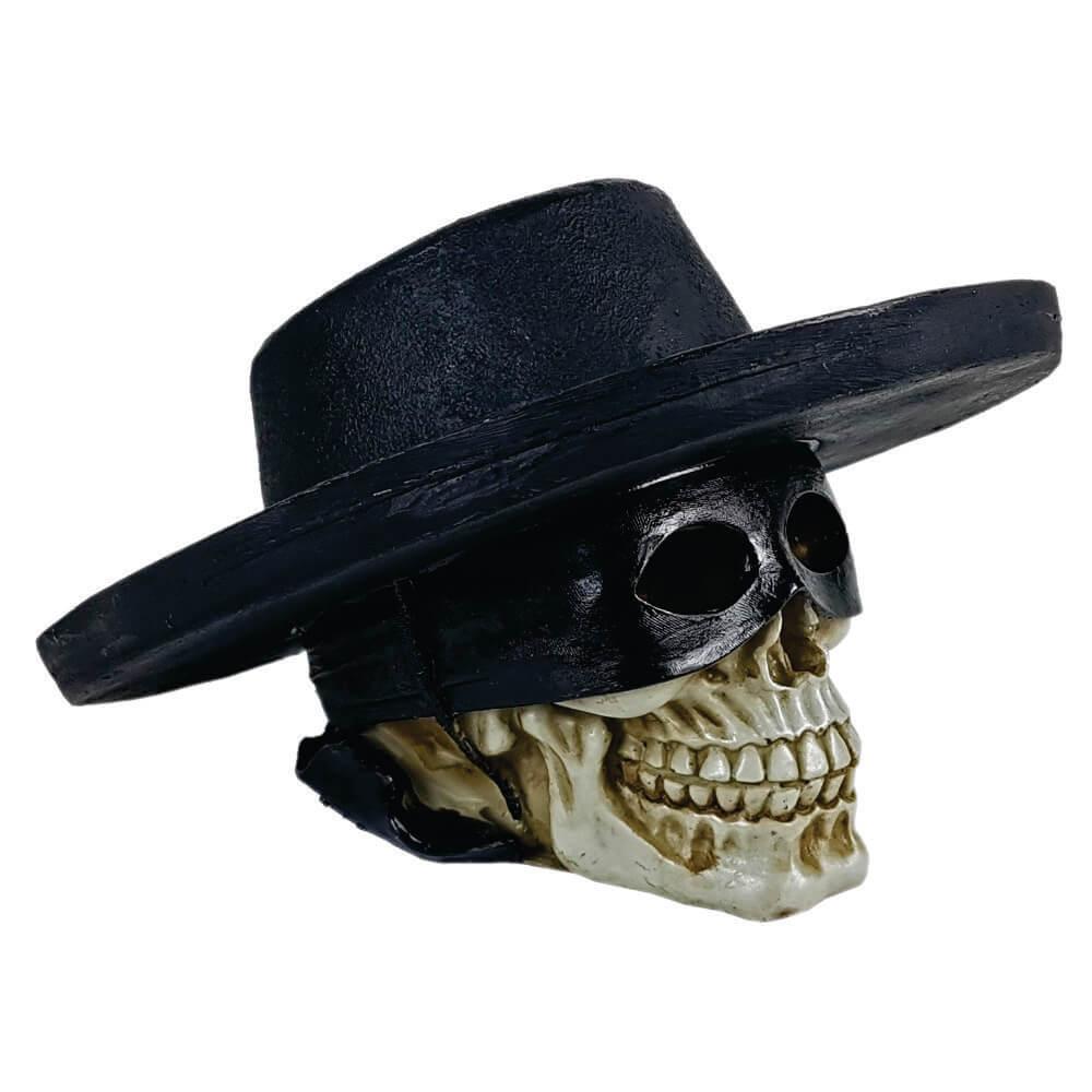 Crânio Caveira Chapéu estilo Zorro.