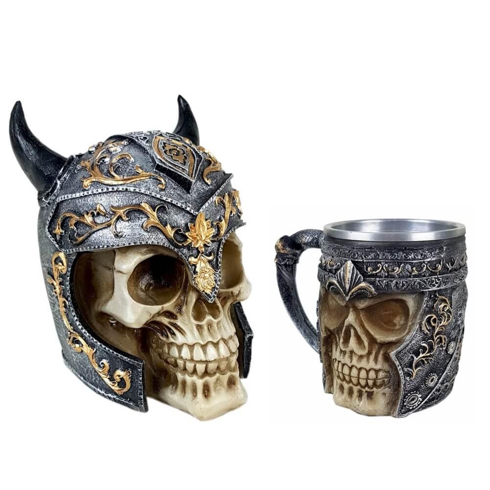 Crânio Viking medieval + Caneca Viking Medieval.
