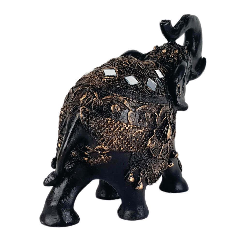 Elefante da sorte grande estilizado resina preto