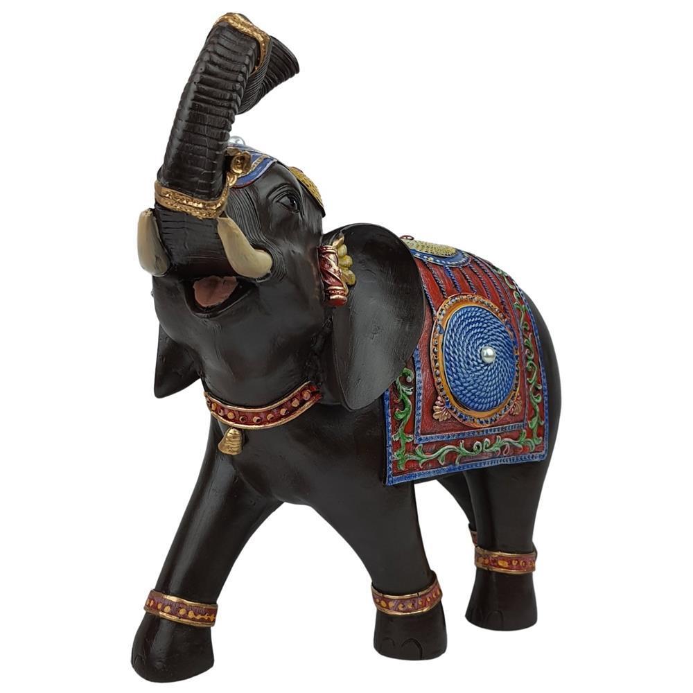 Elefante Indiano estilizado colorido resina grande