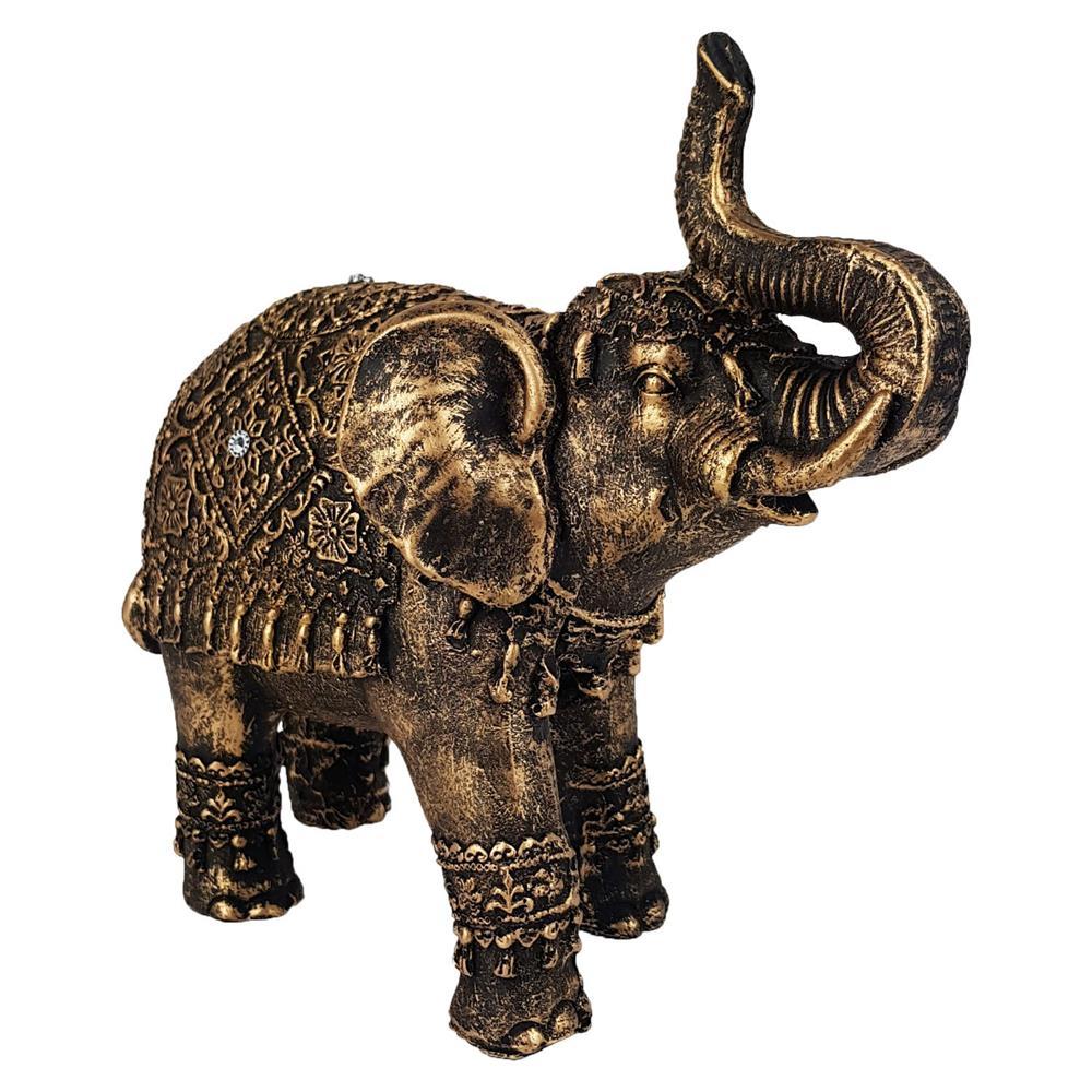 Elefante indiano grande cor ouro envelhecido