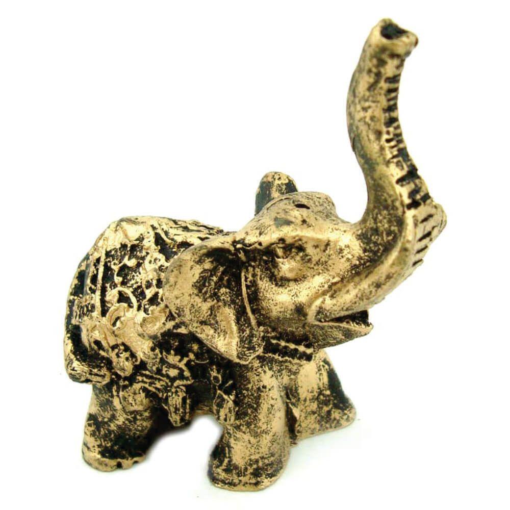 Elefante Tromba Indiano Mini Estátua resina dourado