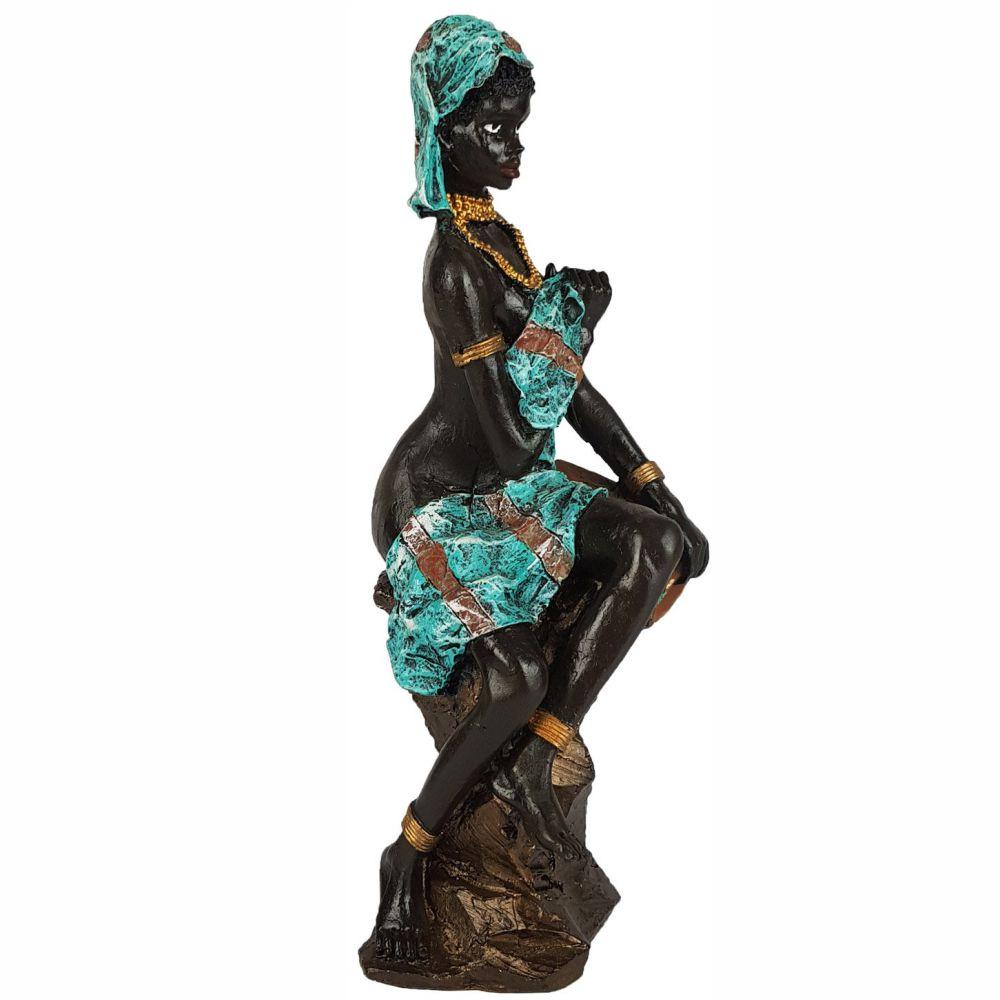 Escultura Africana Sentada Com Vaso Grande