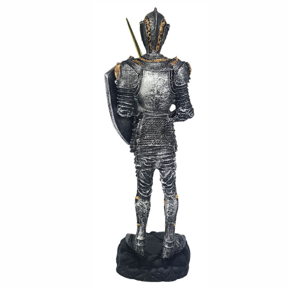Escultura Soldado templário pequeno com escudo e espada.