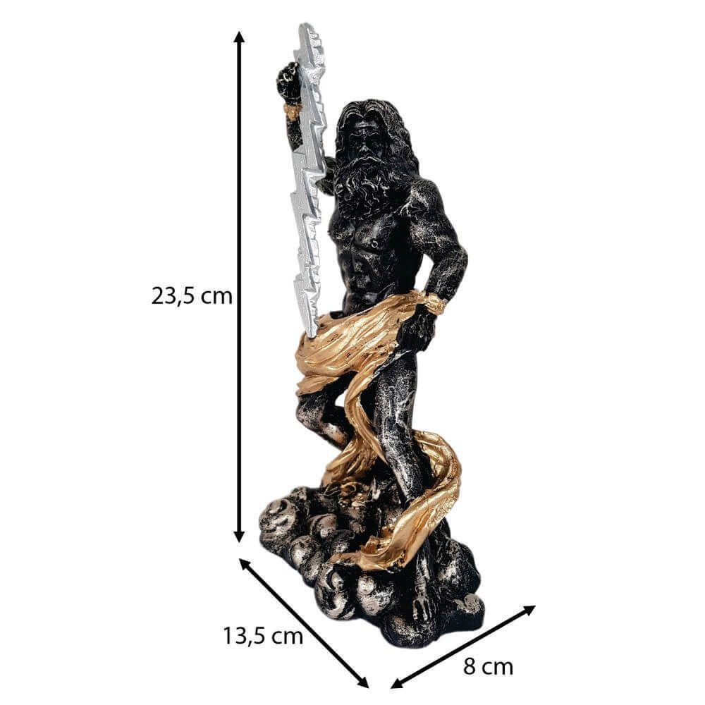 Escultura Zeus senhor dos céus e trovão Decorativo.