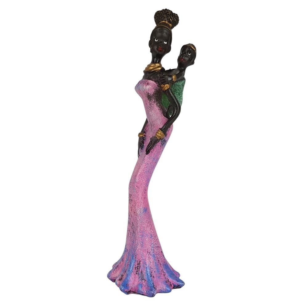 Estátua Africana Com Filho Pequena decorativa.