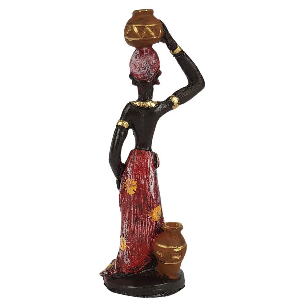 Estátua Africana Com Vaso Na Cabeca Pequeno