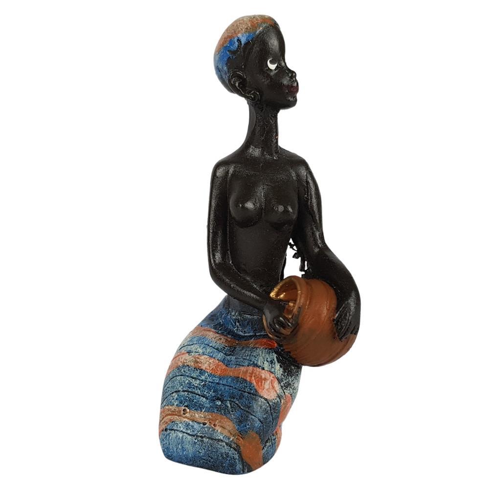 Estátua Africana Sentada Pequena decorativa