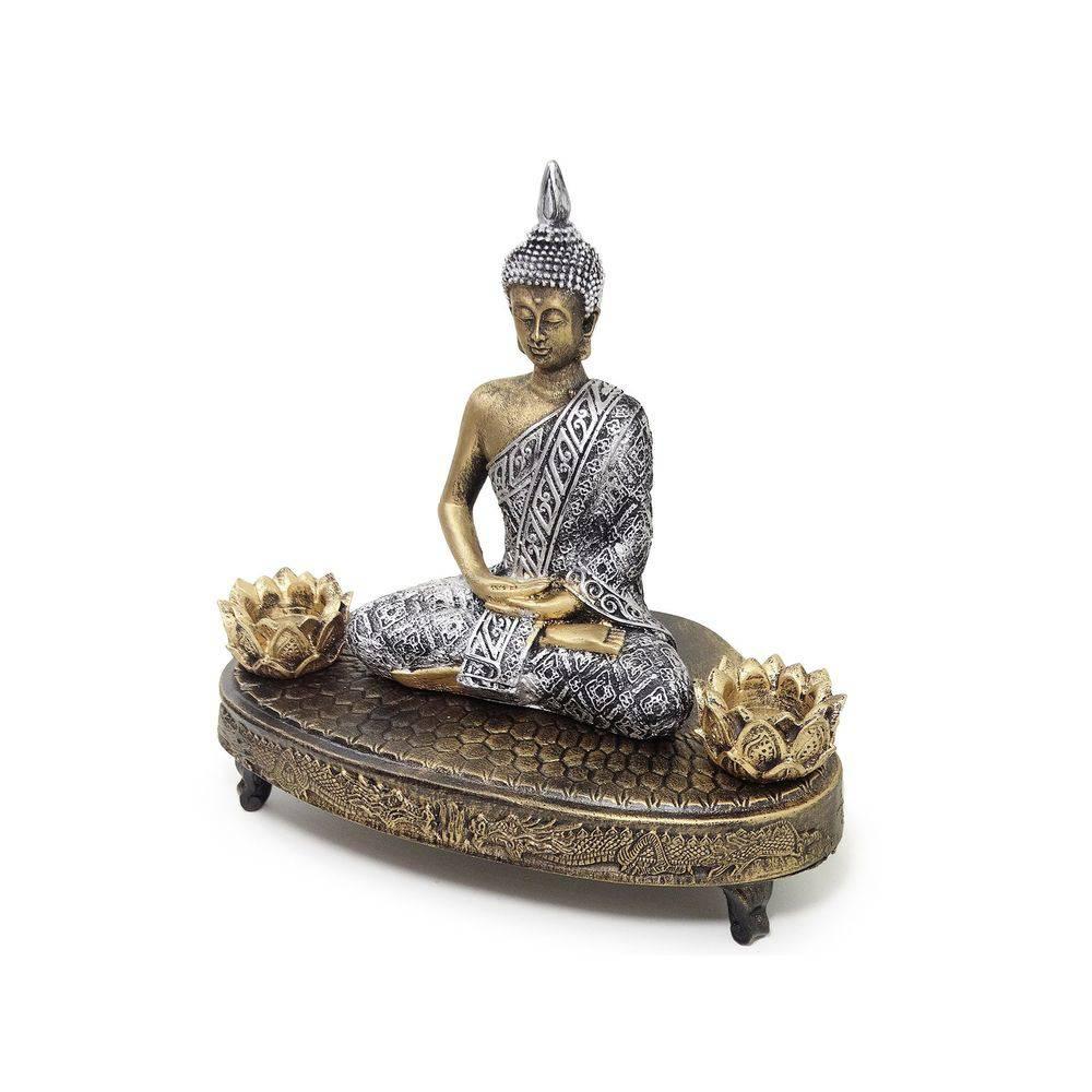 Estátua Buda Hindu Meditação com Incensários