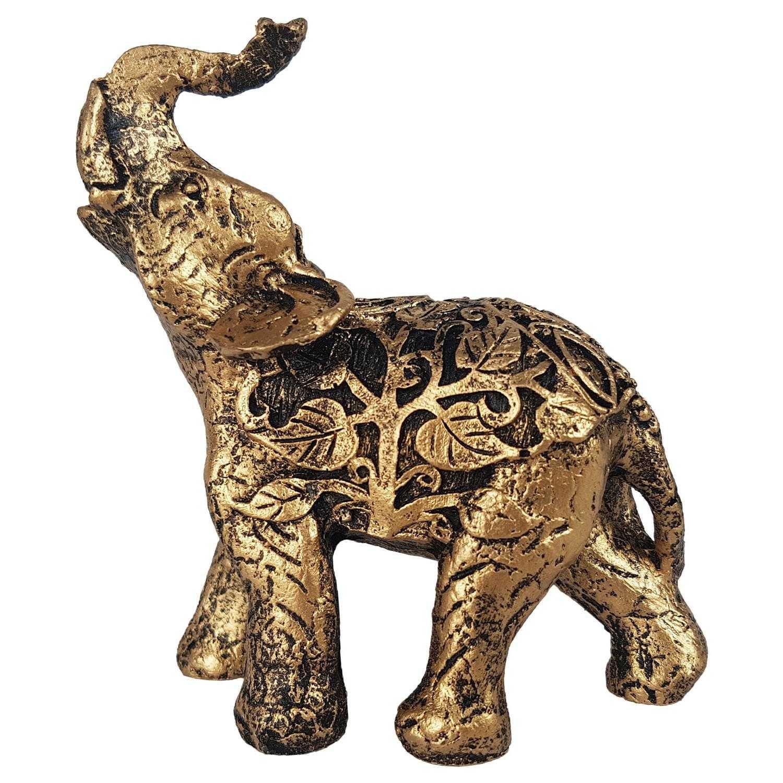 Estátua de Elefante Indiano arabescos Dourado
