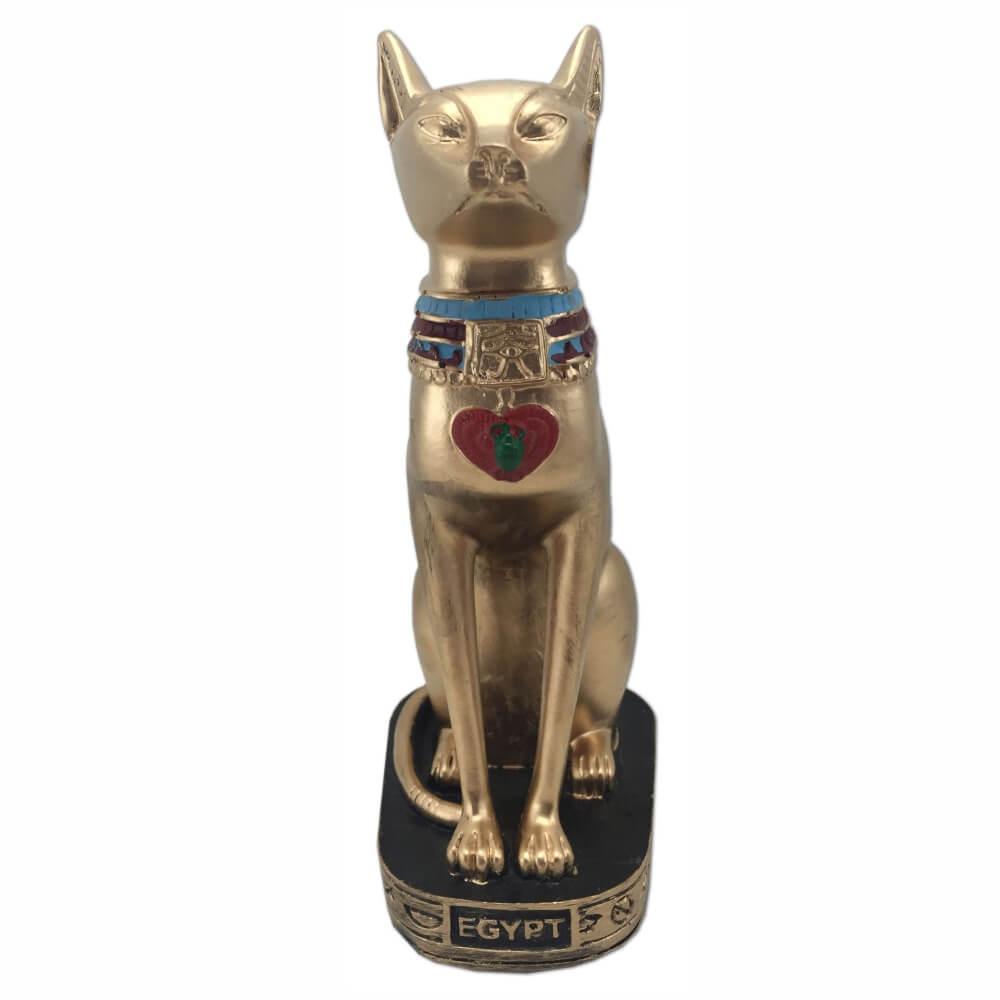 Estátua deusa Bastet Bast Ubasti Ba-en-Aset ou Ailuros gato dourado.