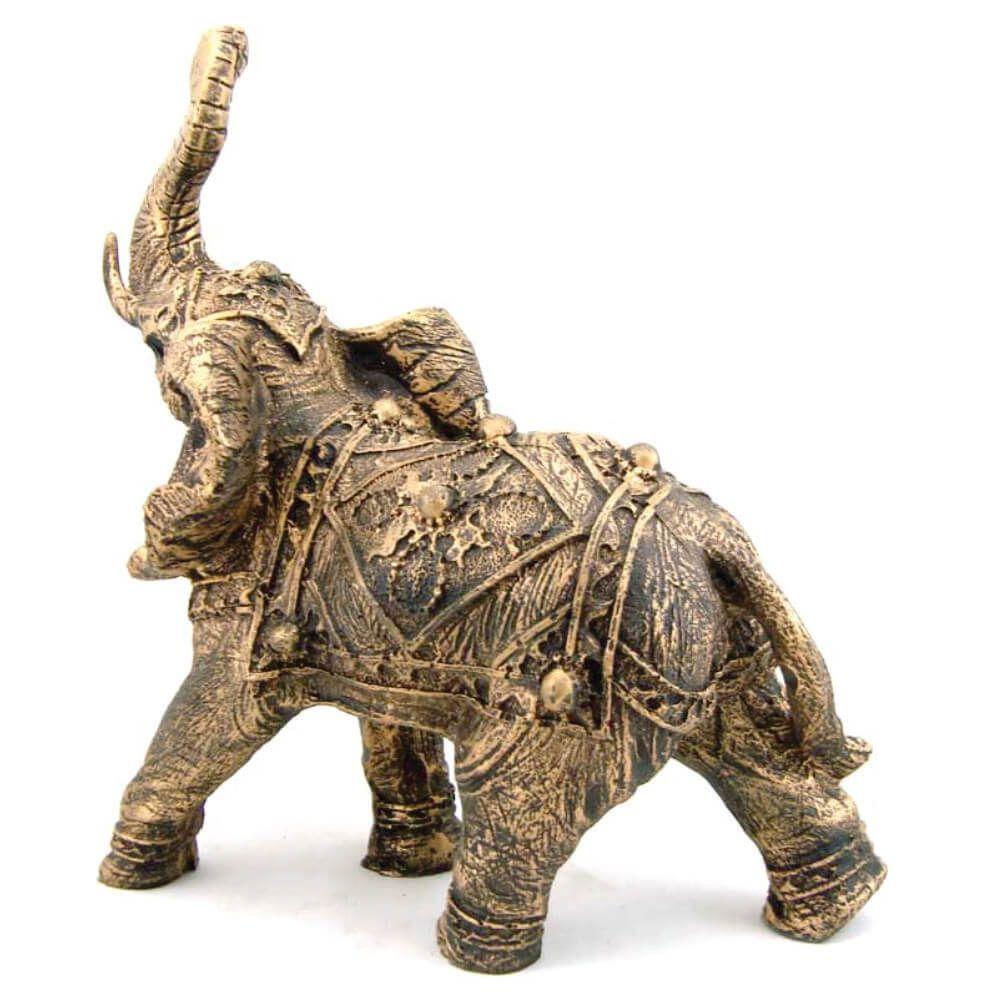 Estátua Elefante Indiano cor ouro envelhecido.