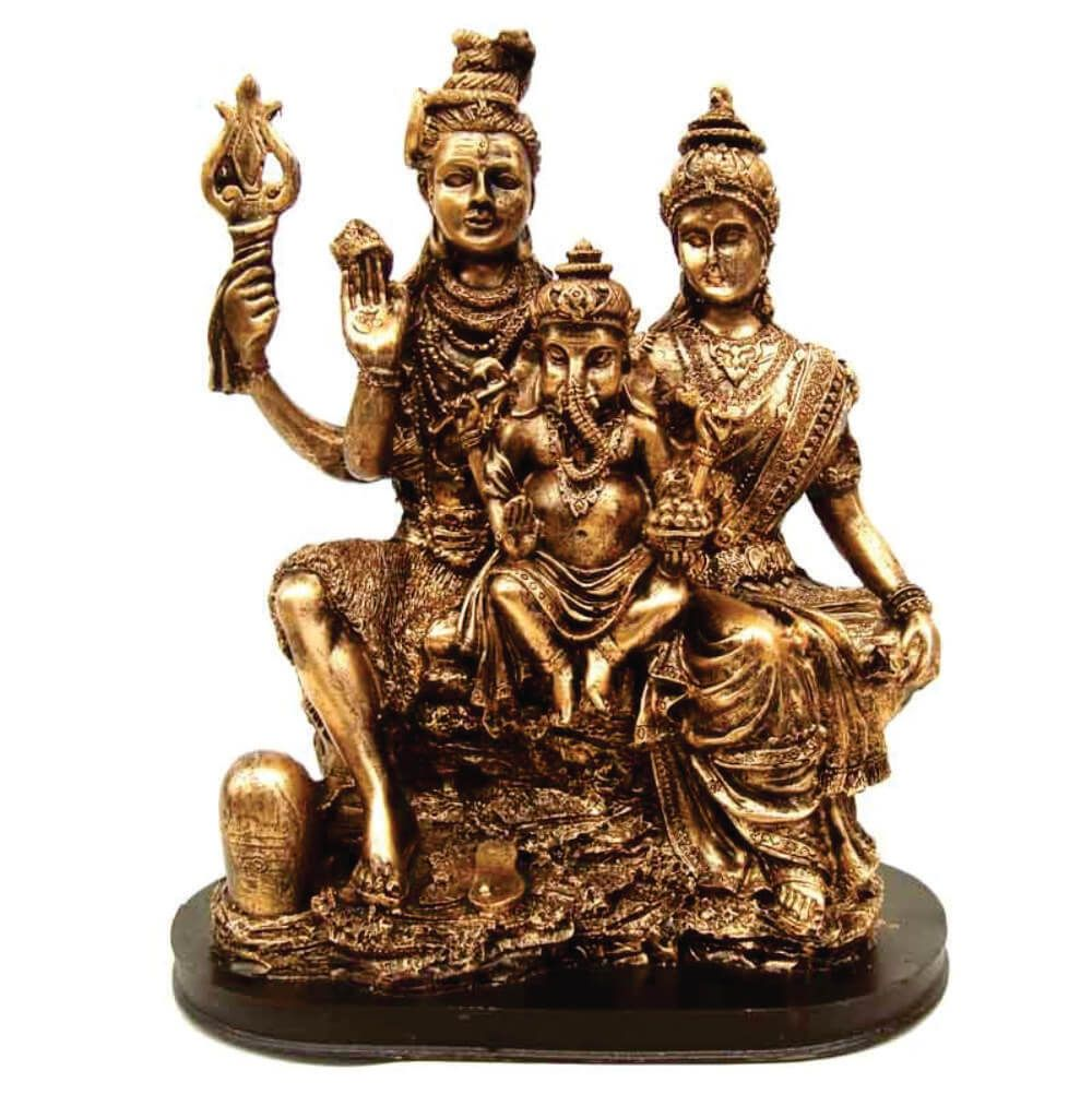 Estátua família Shiva parvati e Ganesha indiano cor ouro