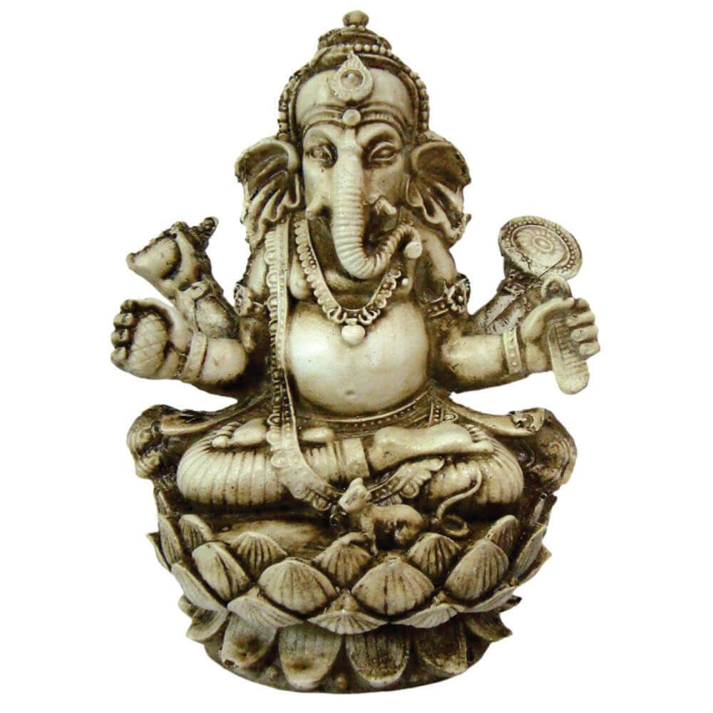 Estátua Ganesha flor de Lótus cor bege