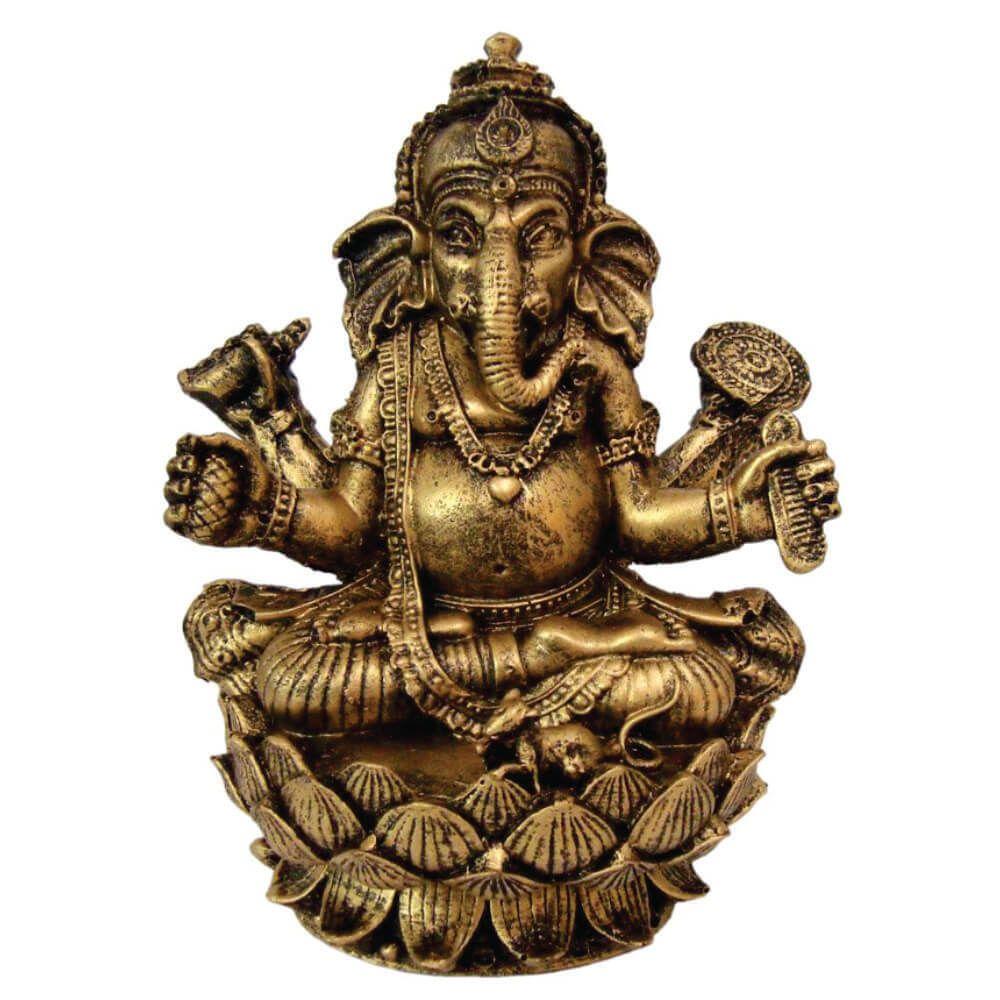 Estátua Ganesha flor de Lótus cor ouro